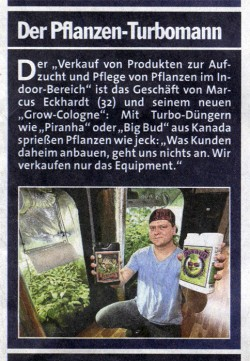 GrowCologne Growshop Zeitungsartikel
